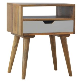 Grey Nordic Style 1 Drawer Bedside