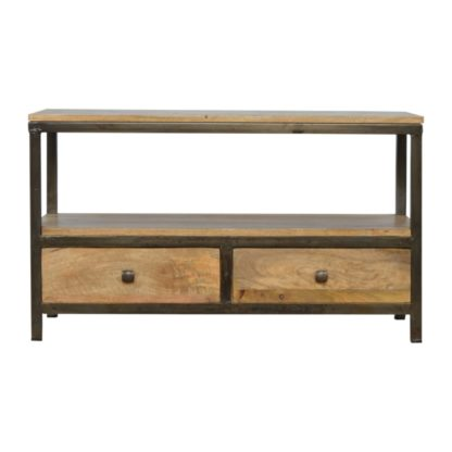2 Drawer Coffee Table with Iron Base
