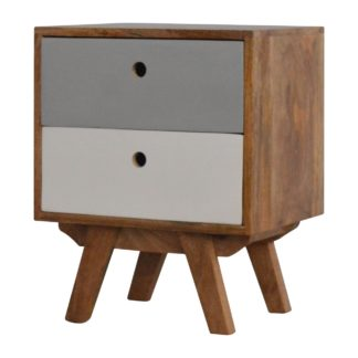 Two Tone Hand Painted Hole Cut-out Bedside