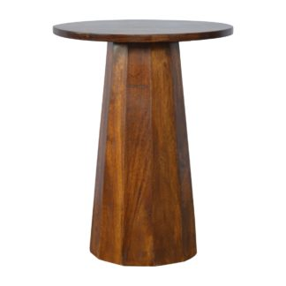Round Wooden End Table with Brass Inlay