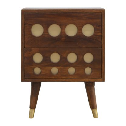 2 Drawer Chestnut Nordic Style Bedside with Brass Inlay