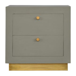 Sleek Cement 2 Drawers Bedside with Gold Detailing