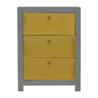 Sleek Cement Bedside with 3 Gold Front Drawers
