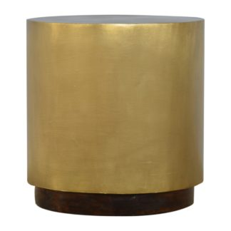 Gold Cylinrical End Table