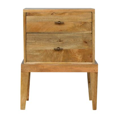 2 Drawer Solid Wood Bedside with T-Bar Knobs