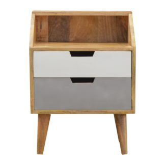 2 Drawer Grey Hand Painted Bedside with Raised Back