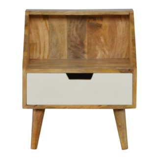 1 Drawer White Hand Painted Bedside with Raised Back
