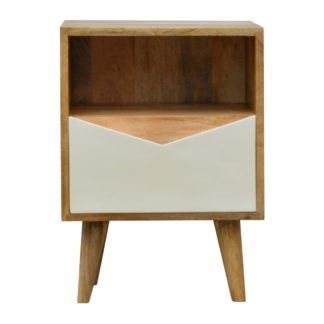 Envelope Style White Painted Drawer Front Bedside Table with Open Slot