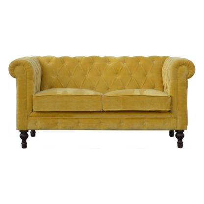 Mustard Velvet 2 Seater Chesterfield Sofa